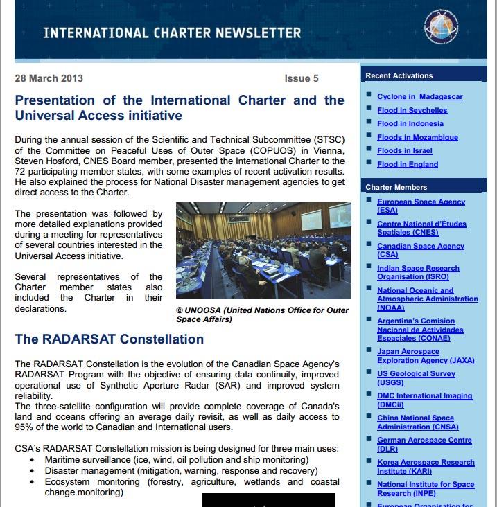 International Charter: March 2013 Newsletter available | UN