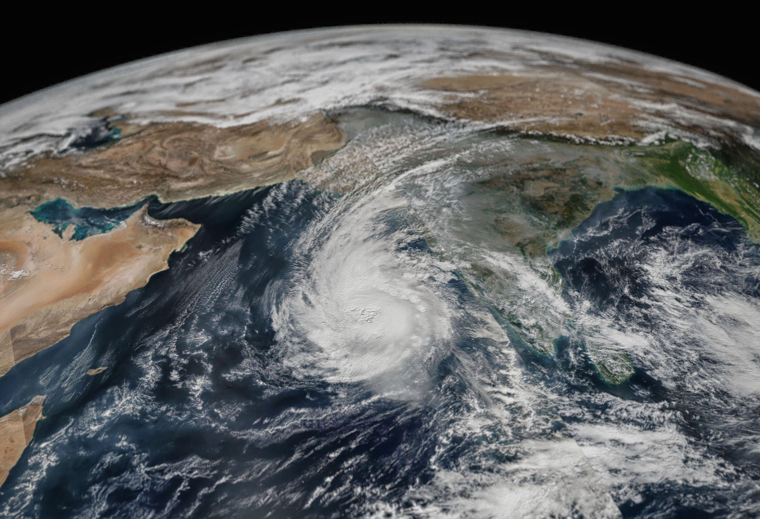 Cyclone Ockhi over the Arabian Sea on 3 December 2017. Based on VIIRS / SuomiNPP satellite data. Image: Antti Lipponen/ Flickr.