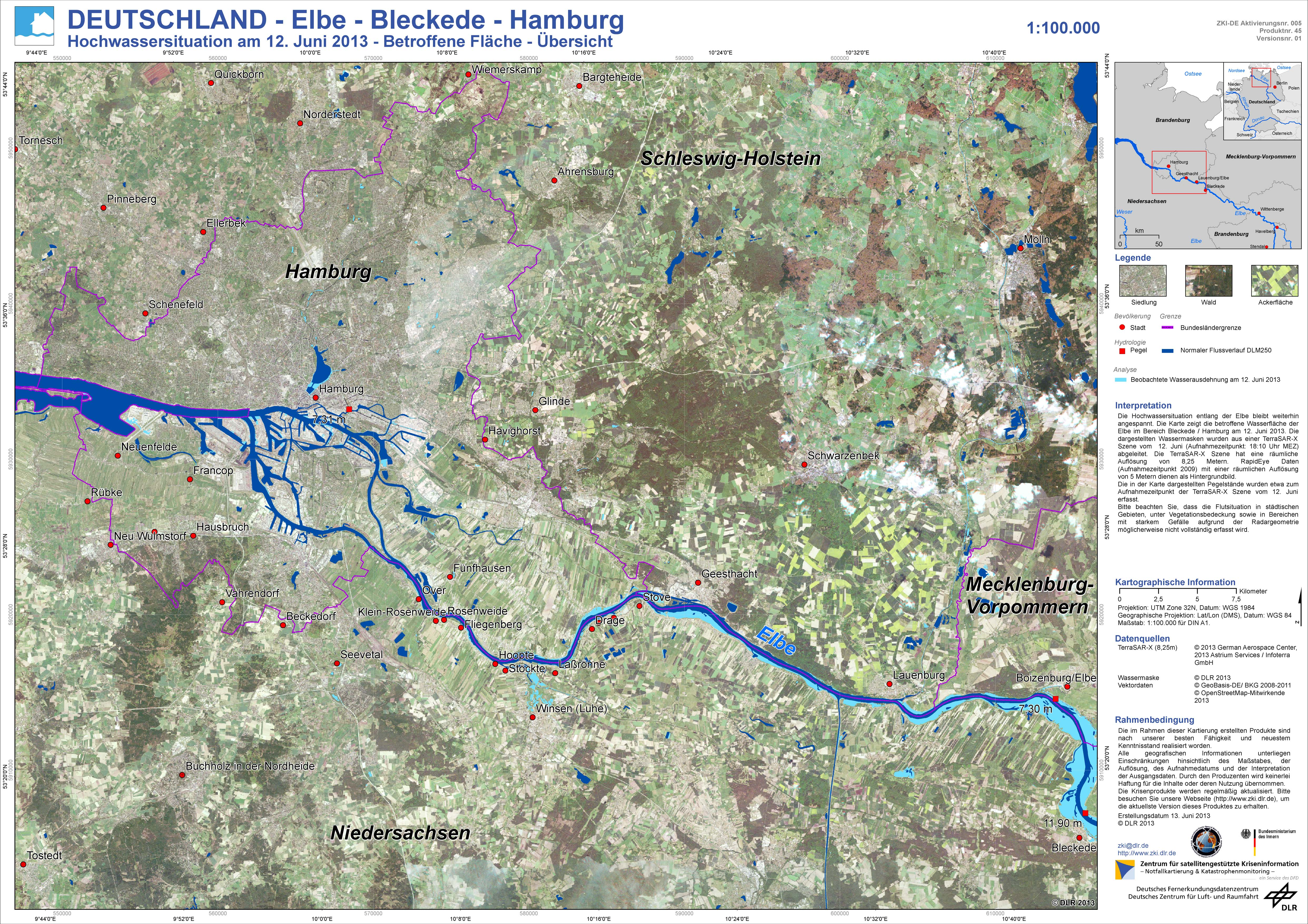 Flood Extent Map for Hamburg, Germany in June 2013