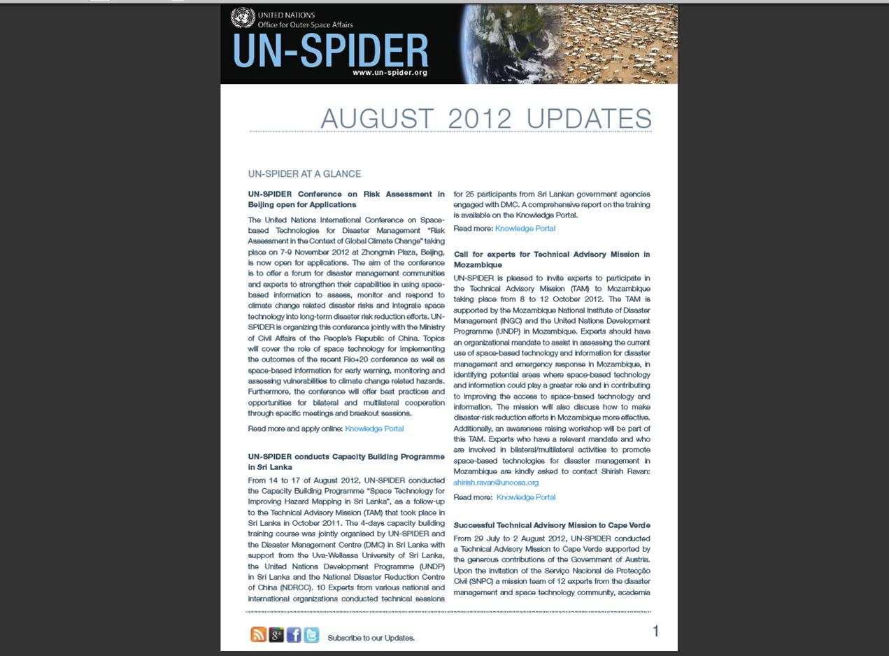 UN-SPIDER Updates August 2012