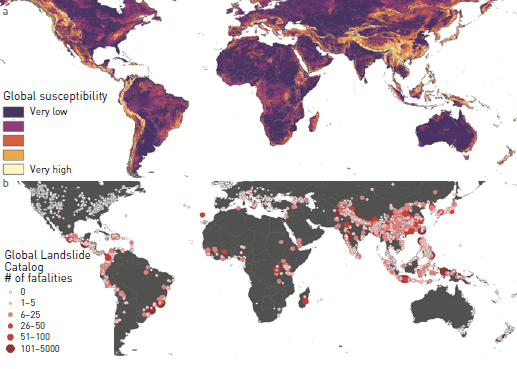 Global landslide susceptibility map computed