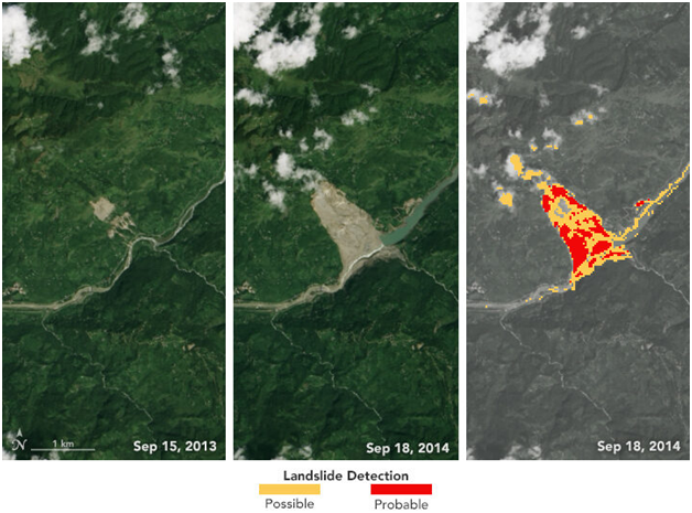 Satellite imagery of Jure landslide in Nepal.