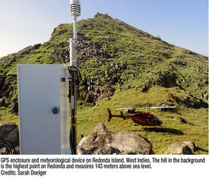 GPS enclosure and meteorological device on Redonda Island, West Indies. The hill in the background is the highest point on Redonda and measures 143 meters above sea level.