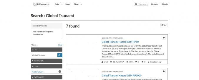 Screenshot of Global Tsunami Model