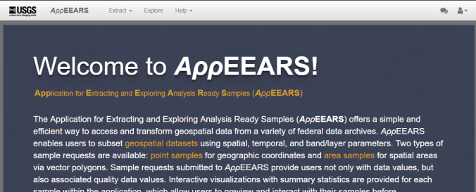 Screenshot of Application for Extracting and Exploring Analysis Ready Samples (AppEEARS)