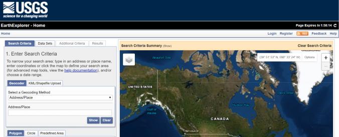 Screenshot of USGS