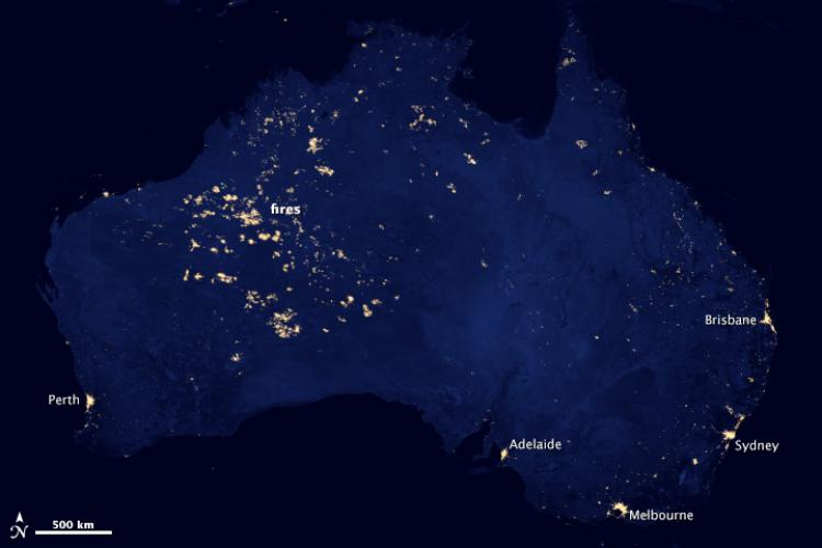 Nasa earth at night imagery reveals wildfires in australia un australia at night gumiabroncs Gallery