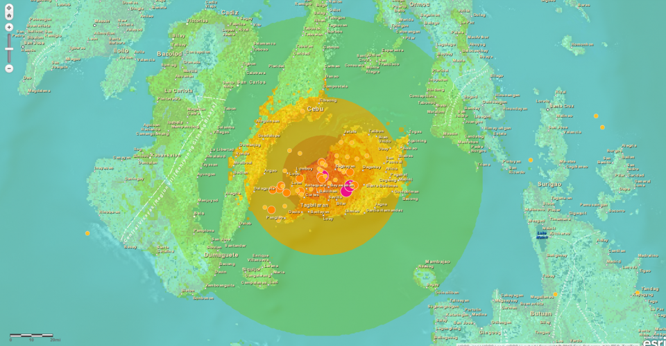 Philippines interactive earthquake map of bohol un spider the earthquake information on the interactive map is based on usgs data credits esri gumiabroncs Choice Image