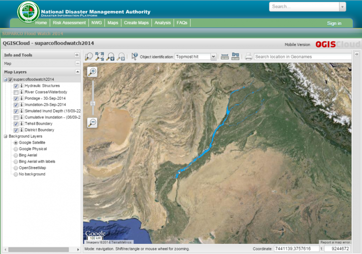 SUPARCO Satellitebased Monitoring Of Pakistan Floods UN - Satellite map sites