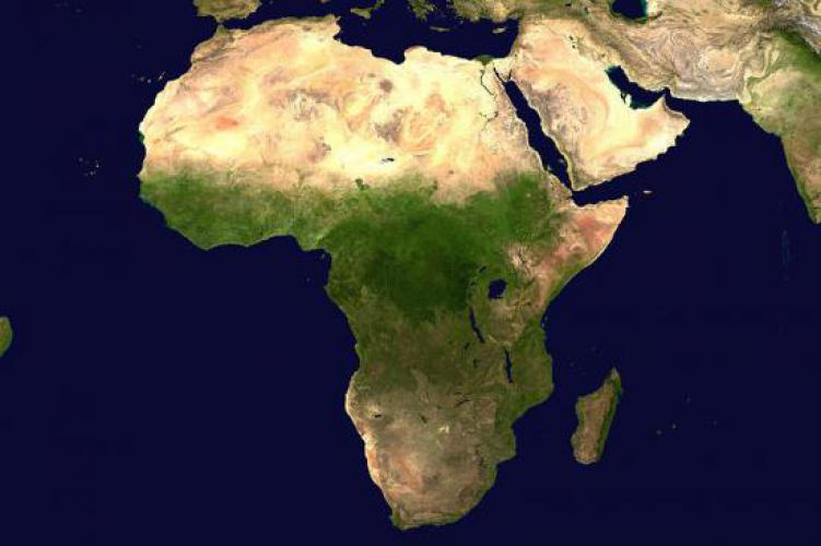 Digital Globe First Complete Satellite Imagery Base Map Of Africa - World satellite map with countries