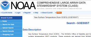 Screenshot of Sea Surface Temperature data (SST)
