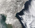 True color image of heavy snowfall in South Korea