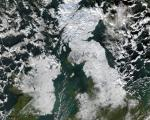 satellite image of snow covered UK