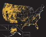 A map showing locations that experienced wildfires greater than 250 acres, from