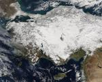 Satellite image of snow in Turkey (NASA/MODIS)