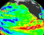 El Niño: strong wave of warm water approaching South America on January 2010.