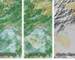 Three panels from the National Land Cover Database depicting land cover change in the vicinity of Fairbanks, Alaska, from 2001 to 2011