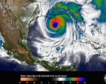 The image shows water vapor within Hurricane Katrina on Aug. 29, 2005 (Image: NASA)