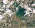 Flood in Uzbekistan and Kazakhstan following a dam breach in April 2020. Image: NASA.