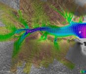 Image showing the movement of the Lambert Glacier, with ice velocity vectors obtained by using RADARSAT Synthetic Aperture Radar (SAR) imagery from the 2000 Antarctic Mapping Mission. Image: Canadian Space Agency/NASA/Ohio State University, Jet Propulsion Laboratory, Alaska SAR facility. Retrieved from NASA Earth Observatory.