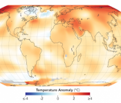 The map depicts global temperature anomalies in 2018.