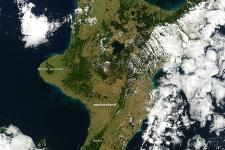 Degree of drought in New Zealand seen from space.