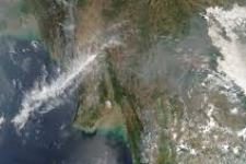 Fires in Burma, Thailand and Laos seen from Space.