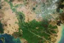 Envisat image of the Mekong Delta in Vietnam.