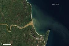 NASA Earth Observatory image shows the Sediment-choked Onibe River, Madagascar,