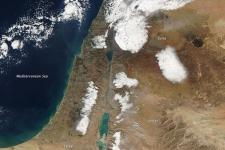 Satellite image shows the snow storm over the Gaza strip that caused floodings