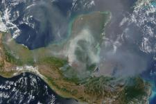 MODIS image a smoke cloud over Yucatan Peninsula, Mexico