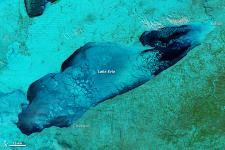 MODIS infrared image of Lake Erie in Canada showing the ice cover
