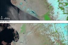 MODIS real color image of the floodings in Peru, caught by Aqua satellite
