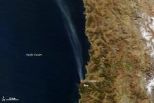 Satellite image of the fires around port city in Chile