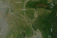 satellite picture of Bangladesh, shows the sediment structure of the region