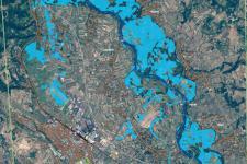 Extent of floods near Jagodina, Serbia on 15 May 2014