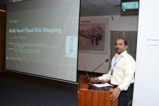 UN-SPIDER's expert, Mr Shirish Ravan, holding a lecture