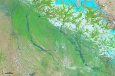 MODIS on NASA's Aqua satellite observed severe floods in Northern India an Nepal