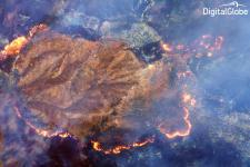SWIR on WorldView-3 can see through dense fire smoke detecting hot spots and flame fronts.