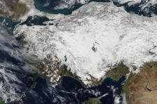 Satellite image of snow in Turkey (NASA/MODIS)