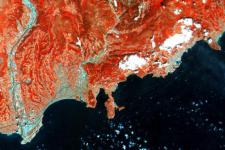 French Riviera processed through infrared spectral channel, one of the first images captured by Sentinel-2A satellite (Image: ESA)