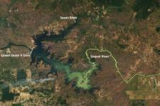 Landsat 8 captured the Lower Sesan II Dam and its adjacent rivers on 1 February 2018. While in 2010, 3 percent of Cambodia's domestically generated electricity came from hydropower, by 2016, hydropower supplied 60 percent. Image: NASA.