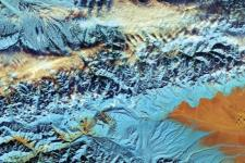This cropped, false-colour image captured with Sentinel-2A on 18 November 2016, depicts northwestern China. Since the 1960s, the Tian Shan glaciers have lost a quarter of their ice mass and scientists estimate that they will shrink by half until 2050. The melting process of glaciers pose threats to communities living downstream. Image: ESA.