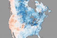 MODIS image caught by NASA's Terra satellite shows the polar vortex over America