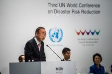 Former United Nations Secretary-General Ban Ki-moon addresses the third UN World Conference on Disaster Risk Reduction in Sendai, Japan, in March 2015. Image: UNISDR.