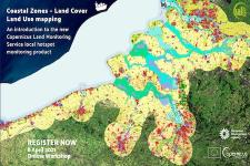 Banner for the Coastal Zones – Land Cover Land Use mapping online workshop. Image: Copernicus Land Monitoring Service.