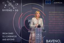 European Commissioner Elżbieta Bieńkowska announcing the launch of Copernicus DIAS on 20 June 2018 in Baveno, Italy. Image: Copernicus