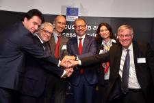 On 14 December 2017, ESA, acting on behalf of the European Commission, signed Copernicus Data and Information Access Service (DIAS) contracts with four industrial consortia. DIAS will give unlimited, free and complete access to Copernicus data and information. Image: ESA.