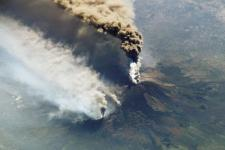 A photo of Mt. Etna erupting on 30 October 2002, taken by astronauts aboard the International Space Station. Image: NASA Earth Observatory/Earth Sciences and Image Analysis Laboratory at Johnson Space Center.