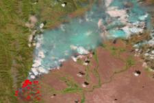 VIIRS detecting a forest fire in Wyoming, United States (courtesy NASA)